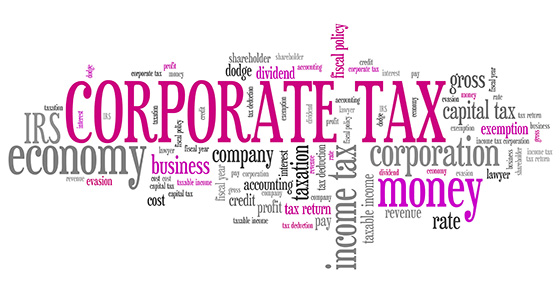 Word cloud with the words CORPORATE TAX