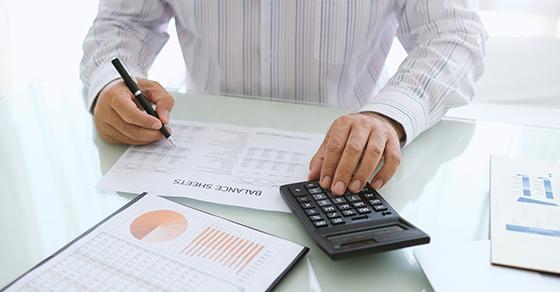 Business man doing tax work
