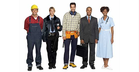 Farmer, police woman, construction worker, business man, female medical professional