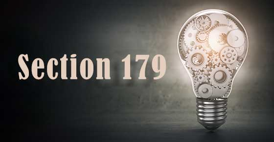 Light bulb with gears and the words Section 179