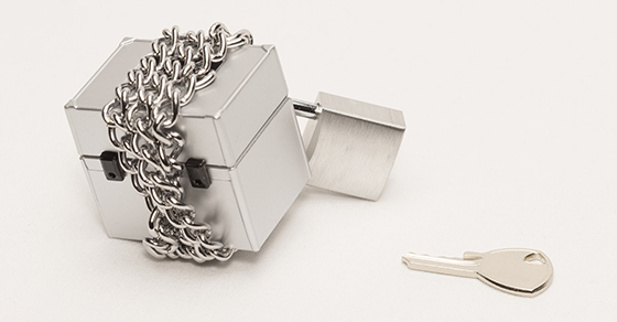 Metal box with chain and padlock