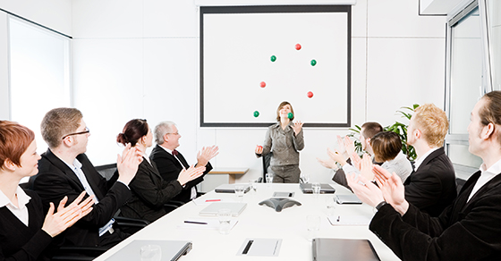 Business woman leading a meeting