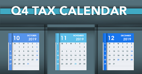 Calendar with October, November, December