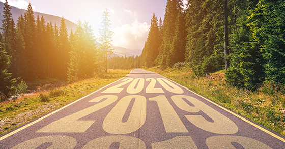 Rural road with 2020 and 2019 painted on it.